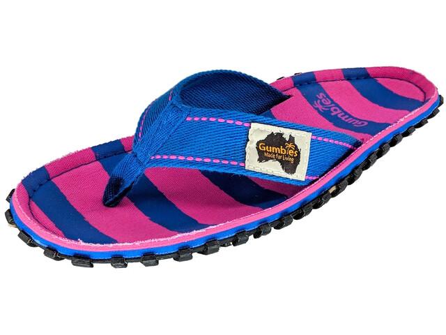 GUMBIES Islander Canvas Thongs pink & blue stripe
